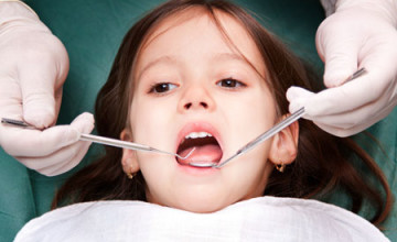 child patient at the dentist - close up
